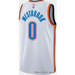 Men's Nike Oklahoma City Thunder NBA Russell Westbrook Association Connected Jersey White/Signal Blue On Sale