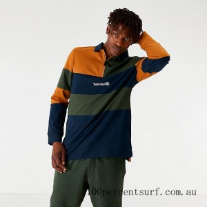 Men's Timberland Archive Long-Sleeve Polo T-Shirt Spicy Orange/Green/Navy On Sale