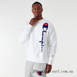 Men's Champion Reverse Weave Flocked Crewneck Sweatshirt White On Sale