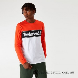 Black Friday 2021 Men's Timberland Linear Logo Long-Sleeve T-Shirt Spicy Orange/White Clearance Sale