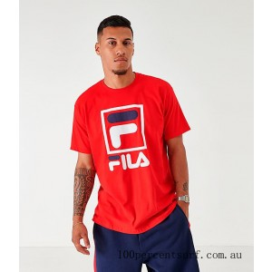 Men's Fila Stacked T-Shirt Red/Navy/White On Sale