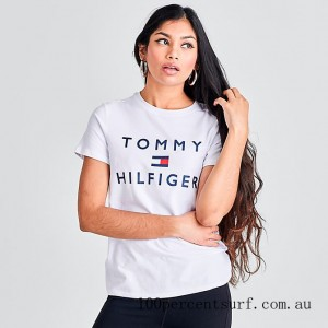 Black Friday 2021 Women's Tommy Hilfiger Logo T-Shirt White Clearance Sale