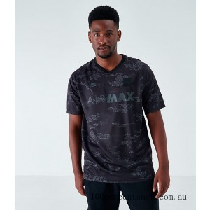 Black Friday 2021 Men's Nike Air Max Soccer Jersey T-Shirt Grey/Camo Clearance Sale