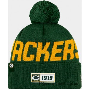 New Era Green Bay Packers NFL Road Sideline Beanie Hat Green/Yellow On Sale