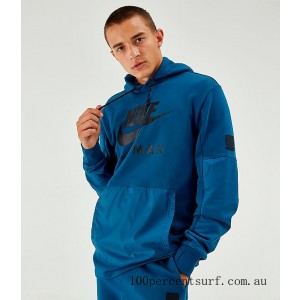 Men's Nike Air Max French Terry Hoodie Blue On Sale