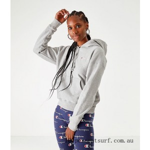 Women's Champion Life Reverse Weave Pullover Hoodie Oxford Grey On Sale