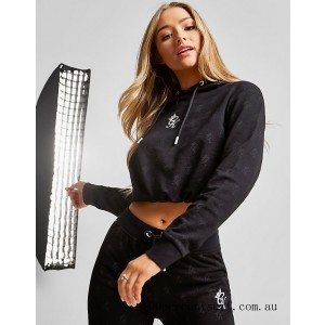 Black Friday 2021 Women's Gym King Allover Print Cropped Hoodie Black Clearance Sale
