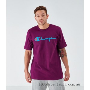 Men's Champion Flocked T-Shirt Venitian Purple On Sale