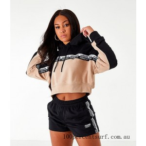 Women's adidas Originals Vocal Cropped Hoodie Ash Pearl/Black On Sale