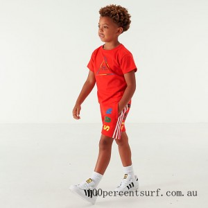 Toddler and Little Kids' adidas Originals x Pharrell Williams TBIITD T-Shirt and Shorts Set Red On Sale