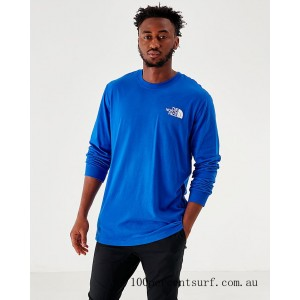 Men's The North Face Box Long-Sleeve T-Shirt Royal On Sale