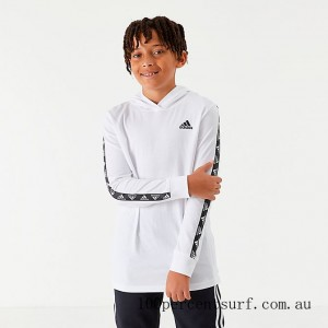 Black Friday 2021 Boys' adidas Badge of Sport Tape Hooded Long-Sleeve T-Shirt White/Black Clearance Sale