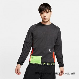 Men's Nike Therma Long-Sleeve Top Black Heather/Black/Electric Green/Pale Ivory On Sale