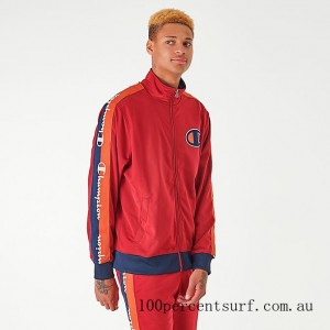 Men's Champion Poly Tape Track Jacket Red On Sale