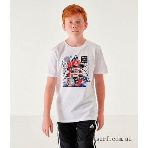 Kids' adidas Bring The Noise T-Shirt White/Blue On Sale