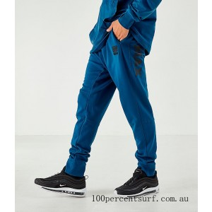 Men's Nike Air Max French Terry Jogger Pants Blue On Sale
