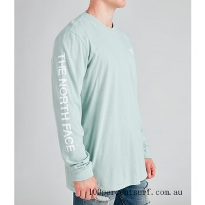 Men's The North Face Printed Long-Sleeve T-Shirt Green/White On Sale