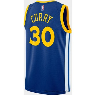 Men's Nike Golden State Warriors NBA Stephen Curry Icon Edition Connected Jersey Rush Blue/White/Amarillo On Sale