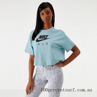 Black Friday 2021 Women's Nike Air Cropped T-Shirt Ocean Cube Clearance Sale