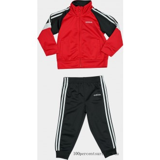 Boys' Infant adidas Colorblock Tricot Track Jacket and Jogger Pants Set Black/Red On Sale