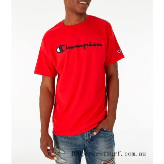 Men's Champion Graphic Jersey T-Shirt Red On Sale