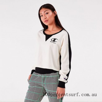 Black Friday 2021 Women's Champion Life Long Sleeve Color Blocked Cropped Top Chalk White/Black Clearance Sale