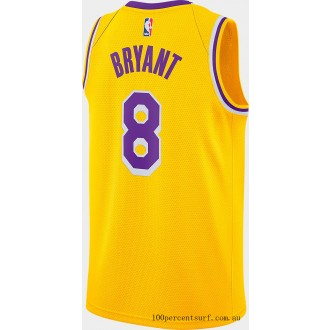 Men's Nike Los Angeles Lakers NBA Kobe Bryant Icon Edition Connected Jersey Amarillo On Sale
