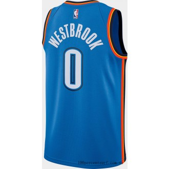 Men's Nike Oklahoma City Thunder NBA Russell Westbrook Icon Edition Connected Jersey Signal Blue/College Navy On Sale