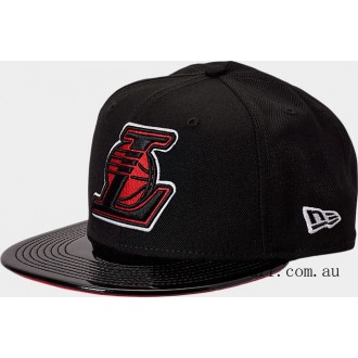 New Era Los Angeles Lakers NBA Patent 9FIFTY Snapback Hat Black/Red On Sale