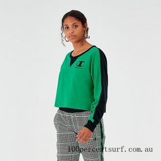 Black Friday 2021 Women's Champion Life Long Sleeve Color Blocked Cropped Top Green/Black Clearance Sale