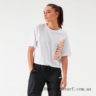 Black Friday 2021 Women's Puma Amplified Cropped T-Shirt White/Gold Clearance Sale