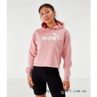 Black Friday 2021 Women's Puma Elevated Essentials Cropped Fleece Hoodie Bridal Rose Clearance Sale