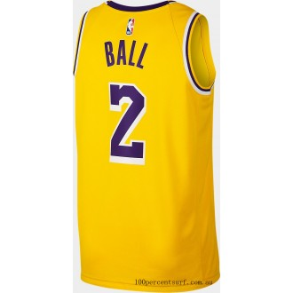 Men's Nike Los Angeles Lakers NBA Lonzo Ball Icon Edition Connected Jersey Amarillo On Sale