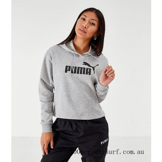 Black Friday 2021 Women's Puma Elevated Essentials Cropped Fleece Hoodie Grey Clearance Sale