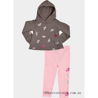 Girls' Infant and Toddler Nike Allover Print Futura Hoodie and Leggings Set Grey/Light Pink/Metallic On Sale
