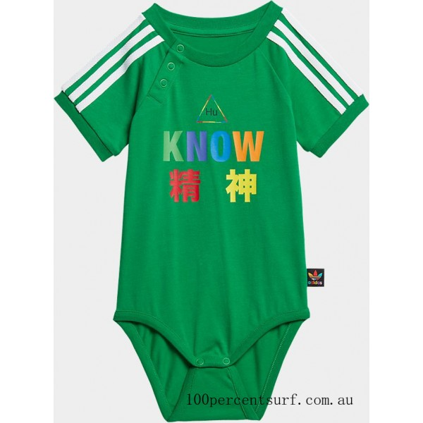 Black Friday 2021 Infant and Toddler adidas Originals x Pharrell Williams TBIITD One Piece Bodysuit Green Clearance Sale