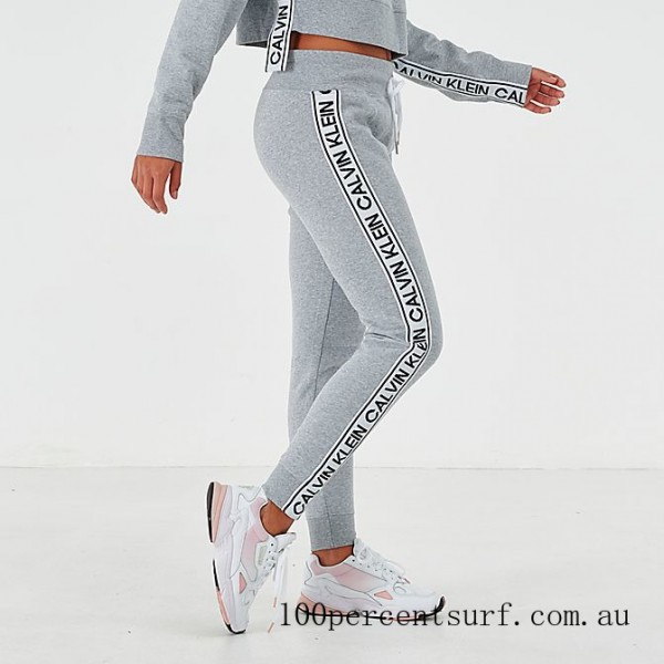 Black Friday 2021 Women's Calvin Klein Tape Jogger Pants Pearl Grey Clearance Sale