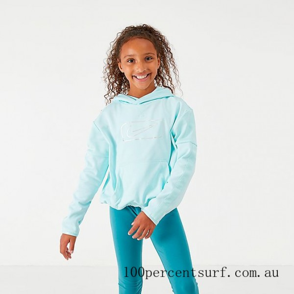 Girls' Nike Therma Shine Pullover Training Hoodie Teal Tint On Sale