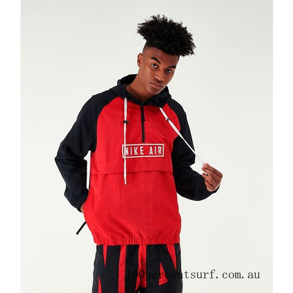 Black Friday 2021 Men's Nike Air Woven Anorak Jacket Red/Black Clearance Sale
