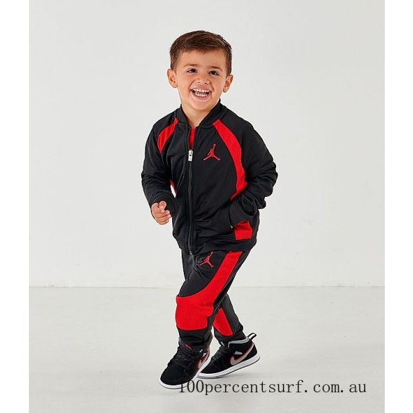 Black Friday 2021 Boys' Toddler Air Jordan Retro 1 Tricot Track Jacket and Pants Set Black/Gym Red Clearance Sale