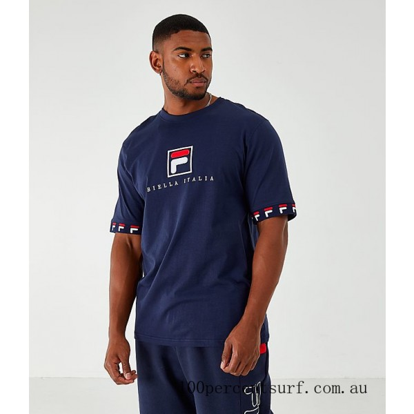 Black Friday 2021 Men's Fila Rosso T-Shirt Navy Clearance Sale