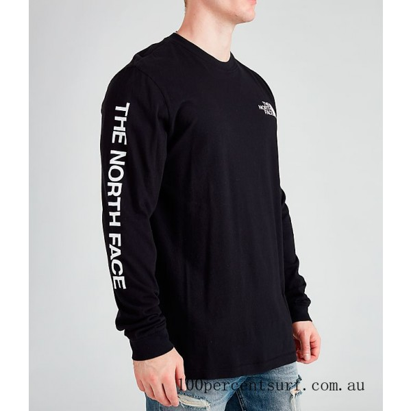 Men's The North Face Printed Long-Sleeve T-Shirt Black/White On Sale