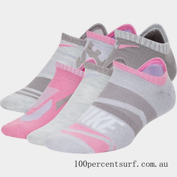 Black Friday 2021 Kids' Nike Everyday Lightweight Graphic Slash 6-Pack No-Show Socks Pink/White Clearance Sale