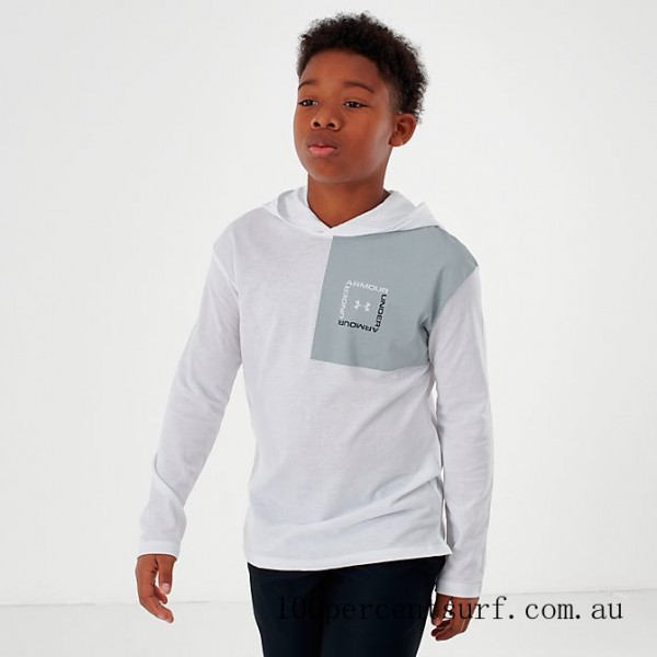 Black Friday 2021 Boys' Under Armour Sportstyle Hoodie White/Mod Grey Clearance Sale