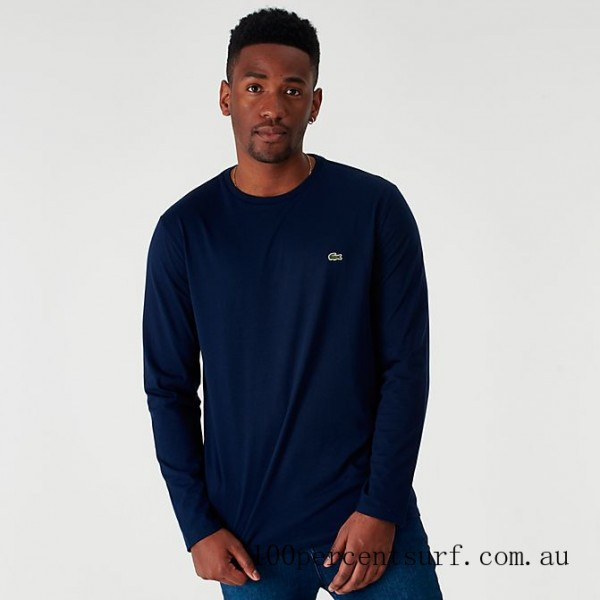 Black Friday 2021 Men's Lacoste Core Long-Sleeve T-Shirt Navy Clearance Sale