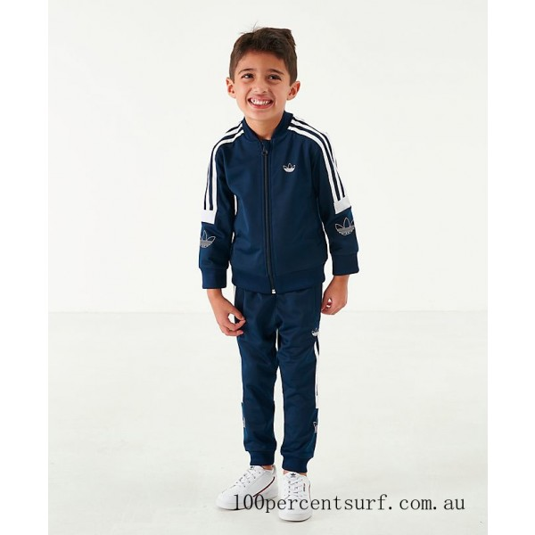 Black Friday 2021 Boys' Toddler and Little Kids' adidas Originals SPRT BB Track Suit Collegiate Navy/White Clearance Sale