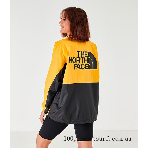 Women's The North Face Wind Jacket Yellow/Black On Sale
