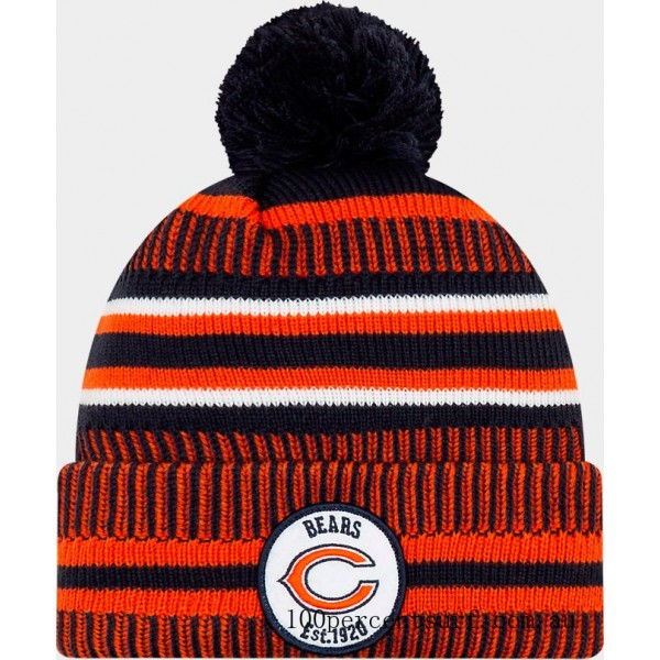 New Era Chicago Bears NFL Home Striped Sideline Beanie Hat Team Colors On Sale