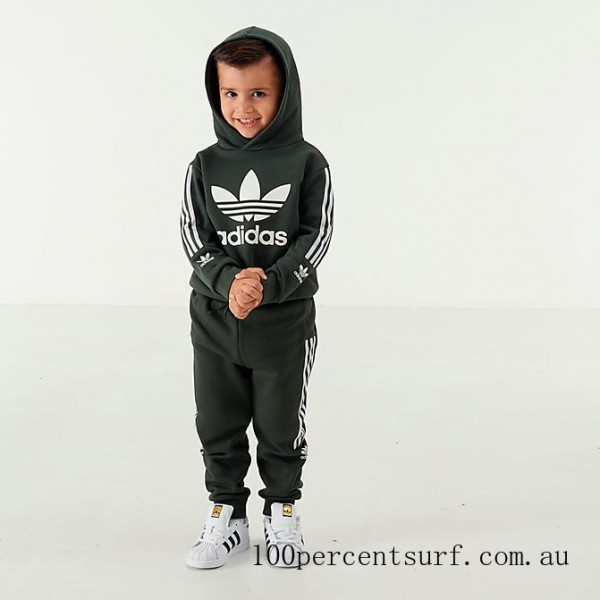 Boys' Infant and Toddler adidas Originals Lock Up Trefoil Hoodie and Pants Set Green/White On Sale