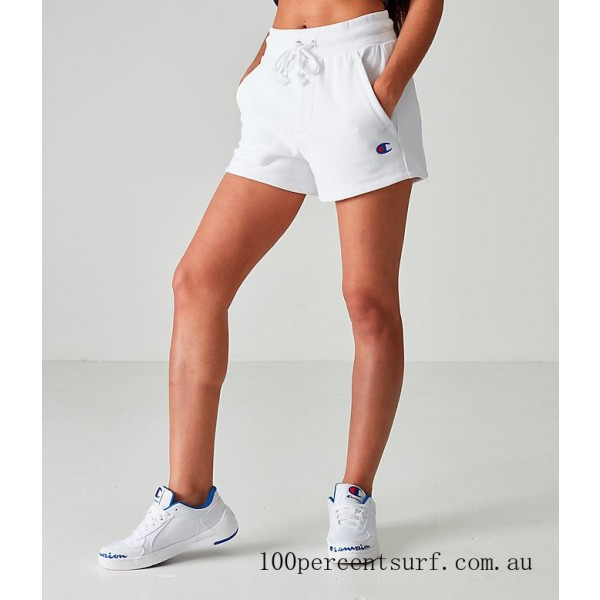 Black Friday 2021 Women's Champion Heritage Shorts White Clearance Sale